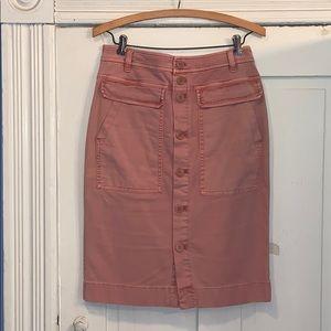 Jcrew pink button front pencil skirt
